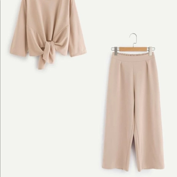SHEIN Knot Front Top with Wide Leg Pants (L)